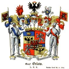 Arms of the counts Orlov  (1836) Shown here in the German style with multi-helms, crests and supporters.  Catherine II allowed the Orlovs to use the imperial double-headed eagle.
