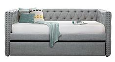 Homelegance Adalie Tuxedo Twin Size Fabric Trundle Daybed Gray ** Check this awesome product by going to the link at the image. (This is an affiliate link) Full Size Daybed, Twin Daybed With Trundle, Metal Daybed, Daybed Design, Upholstered Daybed, Grey Couches, Fabric Sofa, Fabric Beds, Grey Fabric