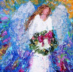 Original oil painting Christmas Angel with Holiday Wreath palette knife impressionism on canvas fine art by Karen Tarlton ((want the painting or acrylic print NOT a paper print))