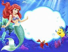 Venha comemorar meu aniversário de 4 aninhos Mermaid Theme Birthday, Little Mermaid Birthday, Little Mermaid Parties, Superhero Birthday Party, Ariel The Little Mermaid, Little Mermaid Cupcakes, Little Mermaid Invitations, Disney Princess Party, Christmas Frames