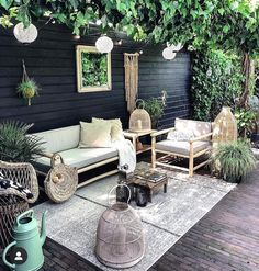 Gorgeous Small Patio Design Ideas You Must Have - Just because you have a small amount of space for small patio landscaping does not mean that you cannot create a stylish and relaxing patio. Outdoor Rooms, Outdoor Living, Outdoor Furniture Sets, Outdoor Decor, Small Patio Design, Balcony Design, Style At Home, String Lights Outdoor, Backyard Patio