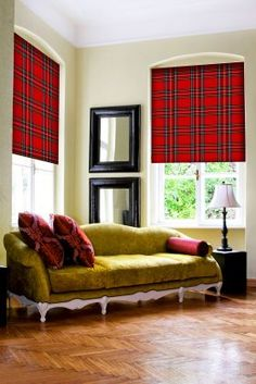 Tartan blinds with lime green sofa