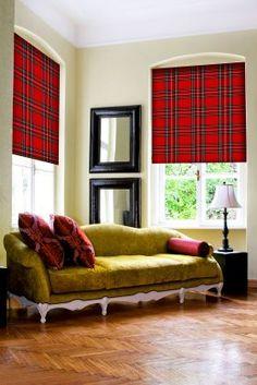 acid green sofa, tartan roller blinds from DigetexHOME.com
