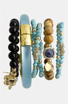 Alexis Bittar & Cara Bracelets - stacked bracelets #bracelet #charmbracelets #charm #luckycharms #acessórios #pulseiras