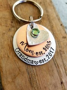 Personalized hand stamped keychain. Pregnancy announcement. New grandma . First mothers day gift. New grandmother. First time grandparent by StanleyWinked on Etsy https://www.etsy.com/listing/513391262/personalized-hand-stamped-keychain
