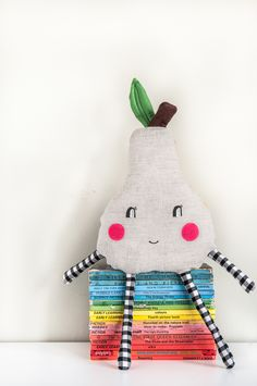 Grey and yellow 'Happy Pear' mini cushion   by Red Hand Gang