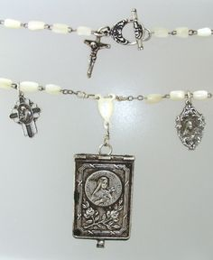 """One of a Kind Handmade """"Wearable Art.OOAK Antique French Jewelry with Romance and History that Becomes an Heirloom Rosary Beads, Prayer Beads, Sacred Symbols, Locket Charms, Christian Jewelry, Rosaries, Religious Jewelry, Fashion 2017, French Antiques"""