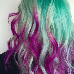 ღ ❤ ღ teal and purple hair, jheri curl, hair dye colors, cool hair color,. Hair Color Dark, Ombre Hair Color, Cool Hair Color, Teal And Purple Hair, Purple Ombre, Jheri Curl, Hair Dye Colors, Pastel Hair, Rainbow Hair