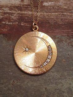 Large Antique Victorian Edwardian Crescent Moon and Star Gold Filled Round Locket Necklace, Monogram G, Gold Photo Locket on Etsy, $149.00