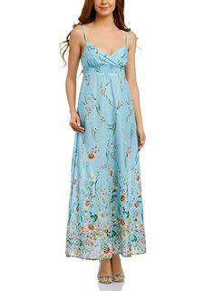 ccd8d133504f oodji Collection Damen Sommerkleid aus Baumwolle Gemustert, Türkis, DE 34    EU 36   XS  Amazon.de  Bekleidung