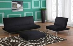 Klik-Klak Canvas Upholstered Sofa Bed - Overstock™ Shopping - Great Deals on K and B Furniture Co Inc Futons Black Fabric Sofa, Sofa Bed Black, Sofa Bed Sleeper, Futon Bed, Living Room Chairs, Living Room Furniture, Studio Furniture, Living Rooms, Sofa Bed Frame