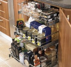 Kitchen pull out wire basket in Chrome in various sizes. High Line baskets for hinged door kitchen cabinets. Improve your kitchen storage today. Kitchen Larder Cupboard, Kitchen Pulls, Kitchen Units, Kitchen Cupboards, Pantry, Kitchen Appliances, Kitchen And Bath, New Kitchen, Kitchen Decor