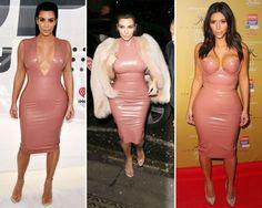 Flesh-colored, knee-length, latex bodycon dress.