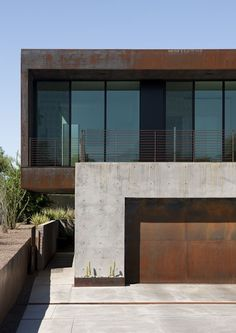 Metal and concrete facade.
