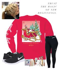"""""""~ in a christmas mood ~"""" by southern-preppster ❤ liked on Polyvore featuring NIKE, tarte, Ace, Speck and Burt's Bees"""