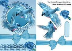Pretty turq birds in flight with roses and bow on Craftsuprint - Add To Basket!