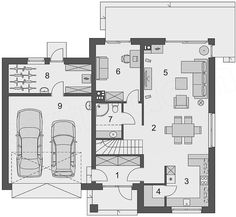 Projekt Domena 311 B 147,76 m2 - koszt budowy 225 tys. zł - EXTRADOM Floor Plans, House, Projects, Haus, Homes, Floor Plan Drawing, Houses, House Floor Plans