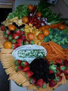 Fruit, cheese and vegetable display