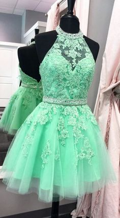 Backless Prom Dresses, Halter Prom Dresses, A Line Prom Dresses, Tulle Prom Dresses, Halter Homecoming Dresses, A Line dresses, A Line Halter Tulle Appliques Backless Prom Dress,Green Homecoming Dresses