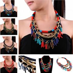 Vintange Classic Multi-Color Rope Gold Chain Resin Beads Pendant Bib Necklace #Unbranded #Statement