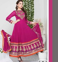 Strike a perfect pose of beauty with this designer dark pink color Anarkali salwar suit. Exciting embroidery work is done on the dress to increase the beauty of the dress. A santoon salwar material, Chiffon dupatta and Santoon inner completes the look of this dress.