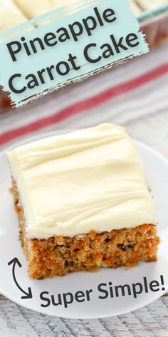 This delicious pineapple carrot cake is a perfect spring dessert. A moist carrot cake filled with crushed pineapple, chopped walnuts, and topped with an easy cream cheese frosting. With it's super… Spring Desserts, Köstliche Desserts, Delicious Desserts, Easy Carrot Cake, Moist Carrot Cakes, Carrot Pineapple Cake, Crushed Pineapple Cake, Recipes With Crushed Pineapple, Carrot Cake With Oil Recipe