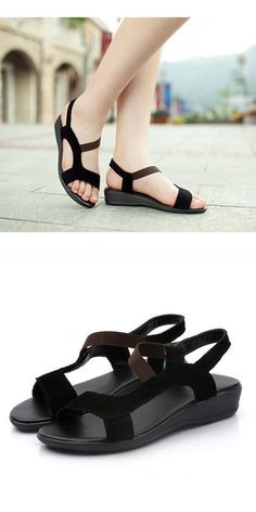 58d1720df695 Black red womens lady summer beach sandals peep toe roma flat heels shoes  sandals a nassau