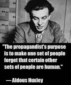 Sound familiar?  The propagandist convinces people to relinquish their capacity for compassion and empathy for others whom they select as the scapegoats for their failures.