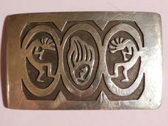 Kokopelli,Hopi Sterling Silver Men's Belt Buckle,Bear Claw by pasttimejewelry on Etsy