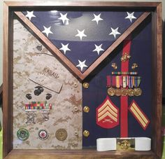 Shadow box ideas like military shadow box ideas, diy shadow box ideas, shadow box frame ideas, newbron shadow box, and etc Awesome Woodworking Ideas, Woodworking For Kids, Woodworking Projects, Woodworking Plans, Woodworking Shop, Diy Projects, Military Retirement, Retirement Gifts, Retirement Ideas