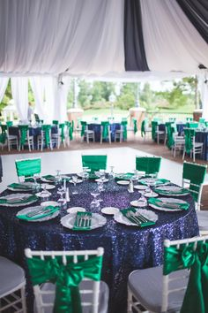 royal blue table runners and top table swag at parc
