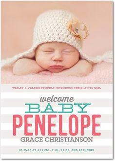 Simple Welcome: Medium Pink - Girl Photo Birth Announcements in Medium Pink | Hello Little One