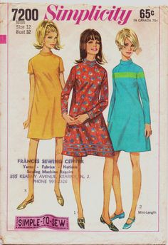 Vintage 60s Simplicity Sewing Pattern