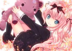 Anime picture with original kiira girl long hair single blue eyes pink hair loli lying dress unifor. Girl With Pink Hair, Blonde With Pink, Girl Hair, Manga Art, Manga Anime, Anime Art, Pretty Anime Girl, Beautiful Anime Girl, Kawaii Chibi