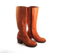 Campus Boots Leather Vintage 1970s Stacked Heel by purevintageclothing