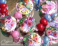 17 handmade lampwork beads SRA  glass  lentil by 'calypsosbeads'- on Etsy <3<3<3STUNNING!!!<3<3<3