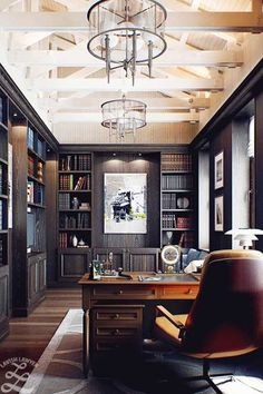 Contemporary Home Office Design Ideas - Surf images of contemporary home offices. Discover ideas for your trendy home office design with ideas for design, storage as well as furnishings. Simple House, Masculine Home Offices, Home Library, Reading Room Design, Home, Masculine Office Decor, Interior, Luxury Office, Office Design