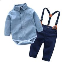 Top and Top Toddler Baby Boys Gentleman Clothes Sets Long Sleeve Romper+Suspenders Pants Wedding Party Casual Outfits Baby Outfits, Toddler Boy Outfits, Newborn Outfits, Baby Boy Wedding Outfit, Casual Outfits, Wedding Wear, Baby Jumpsuit, Baby Dress, Boys Tuxedo