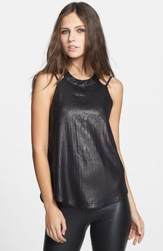 Free shipping and returns on ASTR Strappy Sequin Tank at Nordstrom.com. Glistening sequins and faux-leather trim amp up this molten hot tank styled with blade-baring straps and wispy chiffon in back.