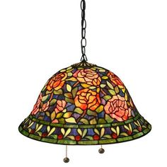 New Tiffany Style Stained Glass Southern Belle Rose Hanging Lamp - For Any Room  #DaleTiffany #StainedGlass