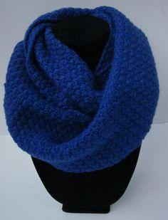 Royal Blue Crochet Infinity Scarf by Hookedoncrochets on Etsy