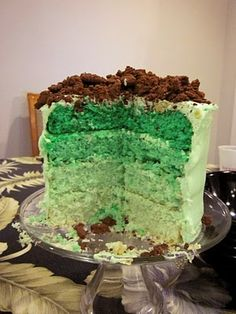 St. Patricks Day green cake. (with crushed chocolate mint cookies on top) yum! Only made better by chocolate mint icecream!