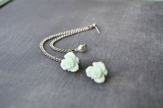 Mint Daffodil and Heart Siilver Multiple Pierce by oflovelythings, $ 11.00