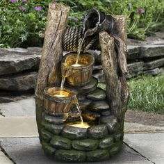 Hi-Line Gift Ltd. Polyresin Well 2 Pouring Pails Fountain with LED Light Patio Water Fountain, Barrel Fountain, Indoor Water Fountains, Tabletop Fountain, Pond Fountains, Indoor Fountain, Diy Fountain, Hanging Plants Outdoor, Outdoor Decor