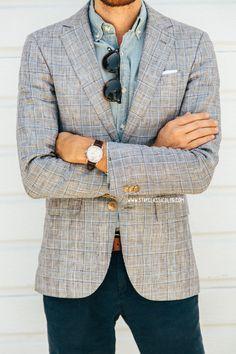 May 7, 2014. Blazer: Club Monaco - $135 (50% off sale sale!) (similar)Shirt: Factory Chambray - J. Crew Factory - $32Pants: American Eagle - $20 (similar)Shoes: Charlie - J. Shoes (via JackThreads)Sunglasses: Kinney - Garrett Leight (c/o)Watch: Stillwell in Chocolate - Jack Spade (c/o) //