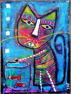 """""""Caught Red Pawed"""" Acrylic painting of a Cat and Fish Bowl on paper. Created by Tracey Ann Finley...enjoy"""