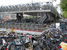 Bikes in Amsterdam.....6,500 are stored around Central Station each day!