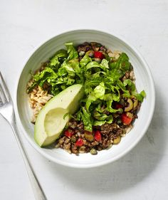 Made this for dinner..had enough for 3 lunches.  DELICIOUS!!  Spanish Beef and Rice Bowls With Avocado | RealSimple.com