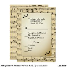 Antique Sheet Music RSVP with Menu Choices Card #sale half off #wedding #banquet