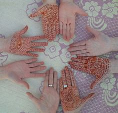 the girls with our fresh henna hands on our first day up to Sidi Ali